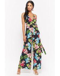 Forever 21 - Tropical Floral Print Surplice Jumpsuit - Lyst