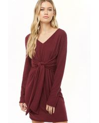 Forever 21 - Tie-front Marled Dress , Wine - Lyst