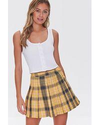 Forever 21 Pleated Plaid Mini Skirt - Multicolour