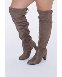 Forever 21 Over-the-knee Block Heel Boots (wide) - Brown