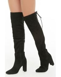 4dbbccbd827 Forever 21 - Women s Lace-up Faux Suede Over-the-knee Boots -