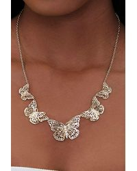 Forever 21 Butterfly Pendant Bib Necklace - Metallic