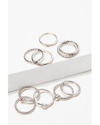 Forever 21 Assorted Ring Set , Silver - Metallic
