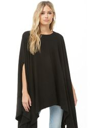 Forever 21 Brushed Knit Poncho - Black