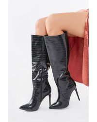 Forever 21 Faux Croc Leather Stiletto Boots - Black