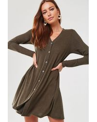 Forever 21 Button-down Sweater Dress - Green