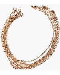Forever 21 Faux Pearl Anklet Set - Metallic