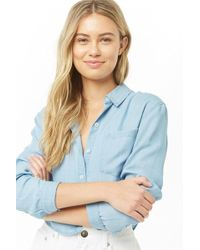 Forever 21 Chambray Button-front Shirt , Light Denim - Blue