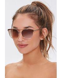 Forever 21 Browline Aviator Sunglasses - Brown