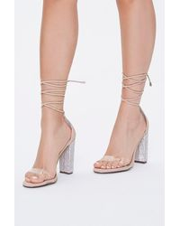 Forever 21 Rhinestone Lace-up Heels - Multicolor