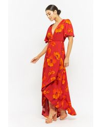 Forever 21 - Plunging Floral Wrap Dress - Lyst