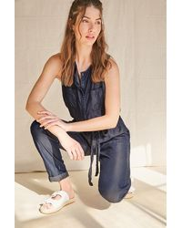 Forever 21 Belted Chambray Jumpsuit - Blue