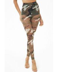 Forever 21 Sheer Camo Print Leggings , Olive/black - Multicolor