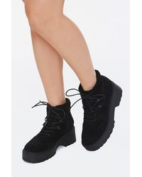 Forever 21 Faux Suede Platform Booties - Black