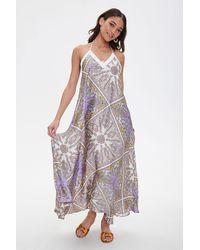 Forever 21 Satin Ornate Print Trapeze Dress In Lavender Small - Purple