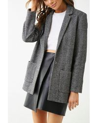 Forever 21 Notched Lapel Striped Blazer , Black/white