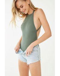 Forever 21 - Crisscross-back Bodysuit , Olive - Lyst