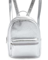 Forever 21 Faux Leather Metallic Backpack , Silver
