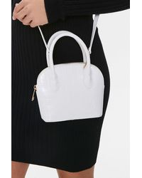 Forever 21 Faux Croc Leather Satchel In White
