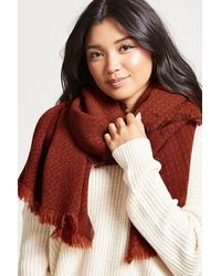 Forever 21 Frayed Oblong Scarf , Rust - Red