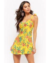 41f6add5cf40 Forever 21 - Women s Tropical Floral Print Mini Dress - Lyst