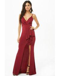 Forever 21 Surplice Maxi Slit Dress , Burgundy - Red