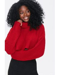 Forever 21 Cropped Turtleneck Sweater - Red