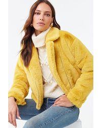 Forever 21 Plush Faux Fur Moto Jacket - Yellow