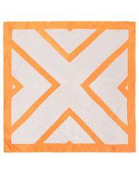 Forever 21 - Satin Geo Square Scarf , Orange/white - Lyst