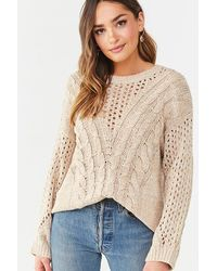Forever 21 Marled Pointelle Cable-knit Sweater - Natural