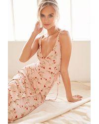 Forever 21 Floral Mock Wrap Midi Dress - Pink