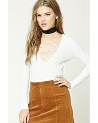 Forever 21 - Ribbed Knit Lace-up Top - Lyst