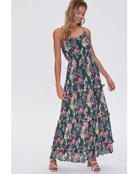 Forever 21 Floral Print Maxi Dress - Green