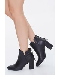 Forever 21 Faux Leather Notched Block Heel Booties - Black