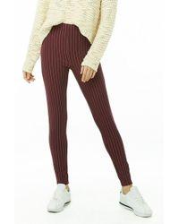 Forever 21 Pinstriped Knit Leggings , Burgundy/cream - Multicolour