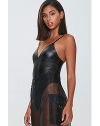 Forever 21 Faux Leather Bodysuit - Black