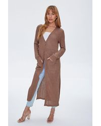Forever 21 Longline Cardigan Sweater - Brown
