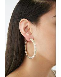 Forever 21 Rhinestone Embellished Hoop Earrings - Metallic