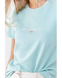 Forever 21 Rainbow Heart Graphic Tee - Blue