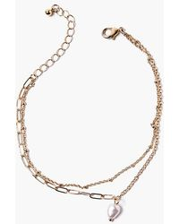 Forever 21 Faux Pearl Layered Anklet - Metallic