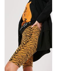 Missguided - Tiger Print Bike Shorts At - Lyst
