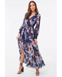 Forever 21 Chiffon Floral M-slit Maxi Dress , Navy/multi - Blue