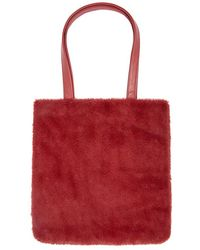 Forever 21 Faux Fur Tote Bag , Burgundy - Red