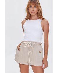 Forever 21 Paperbag Rope-belt Shorts - Multicolor