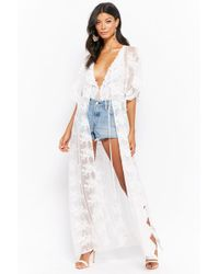 Forever 21 Sheer Floral Embroidered Duster Kimono - White
