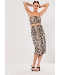 Missguided Tiger Print Skirt At , Nude/black - Multicolour