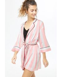 Forever 21 - Belted Satin Striped Robe - Lyst 5a729759f