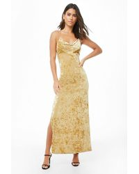 Forever 21 - Crushed Velvet Lace-up Maxi Dress - Lyst