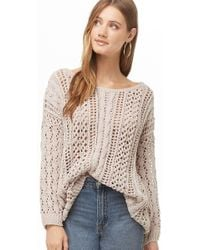 87e1c83f38ee52 Forever 21 Cable Knit Mock-neck Sweater in Natural - Lyst