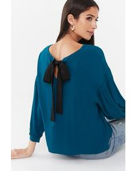 Forever 21 Crepe Bow Top , Teal - Blue